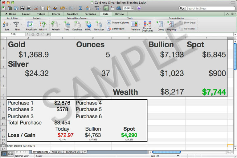 Marcushesse Com 187 Gold Amp Silver Bullion Tracking Excel Sheet